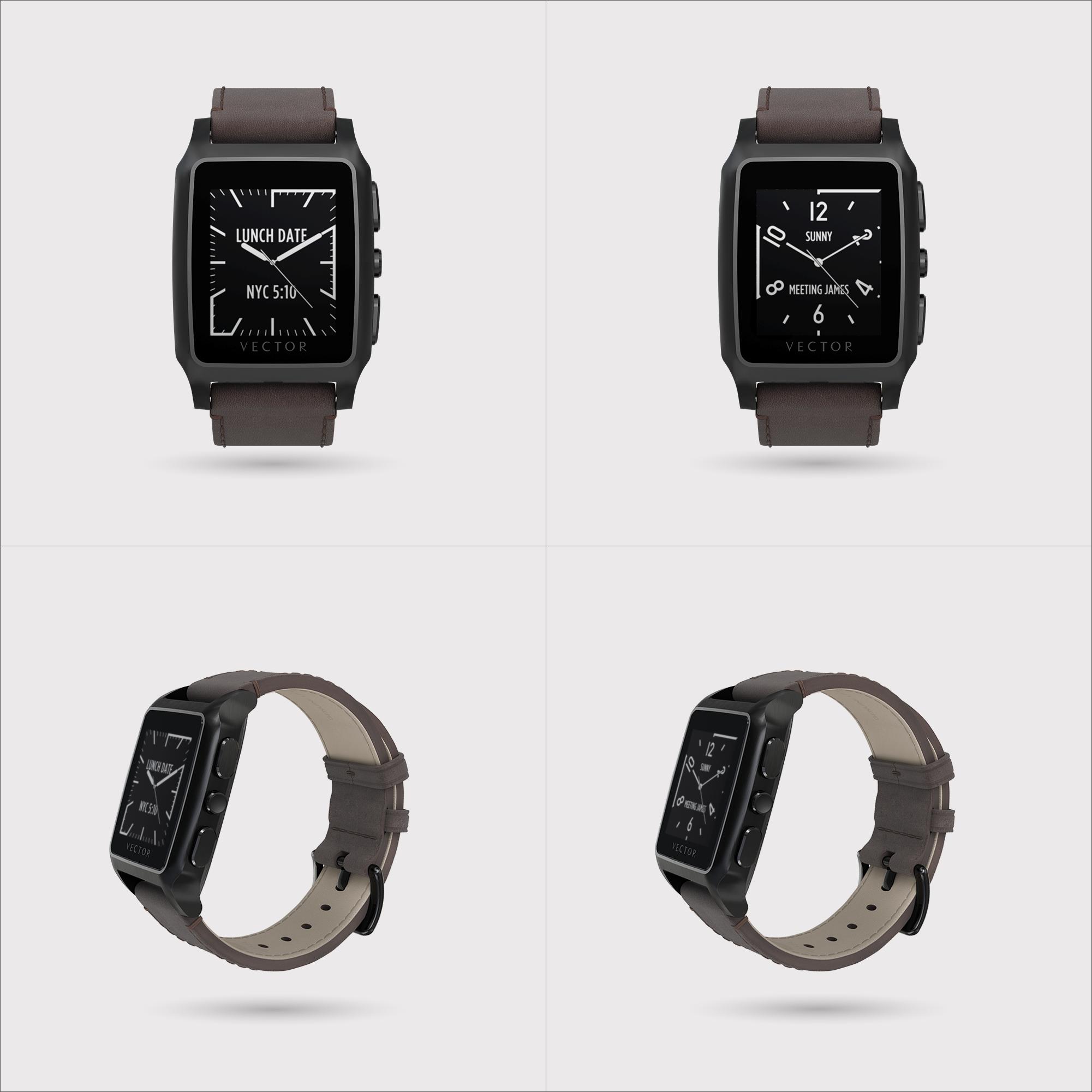 Descriere SmartWatch VECTOR Watch Meridian, negru satinat si curea maro din piele