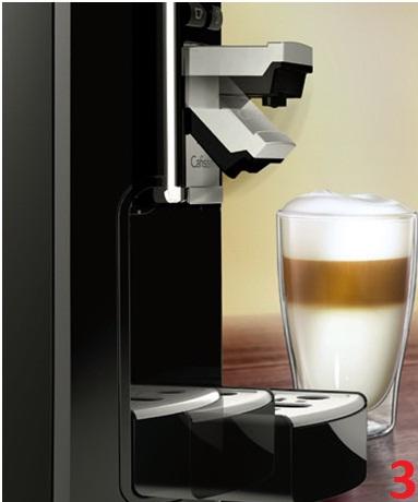Descriere Aparat de cafea, 1.0L, argintiu, 15 bar, Espressor Tchibo Cafissimo Latte
