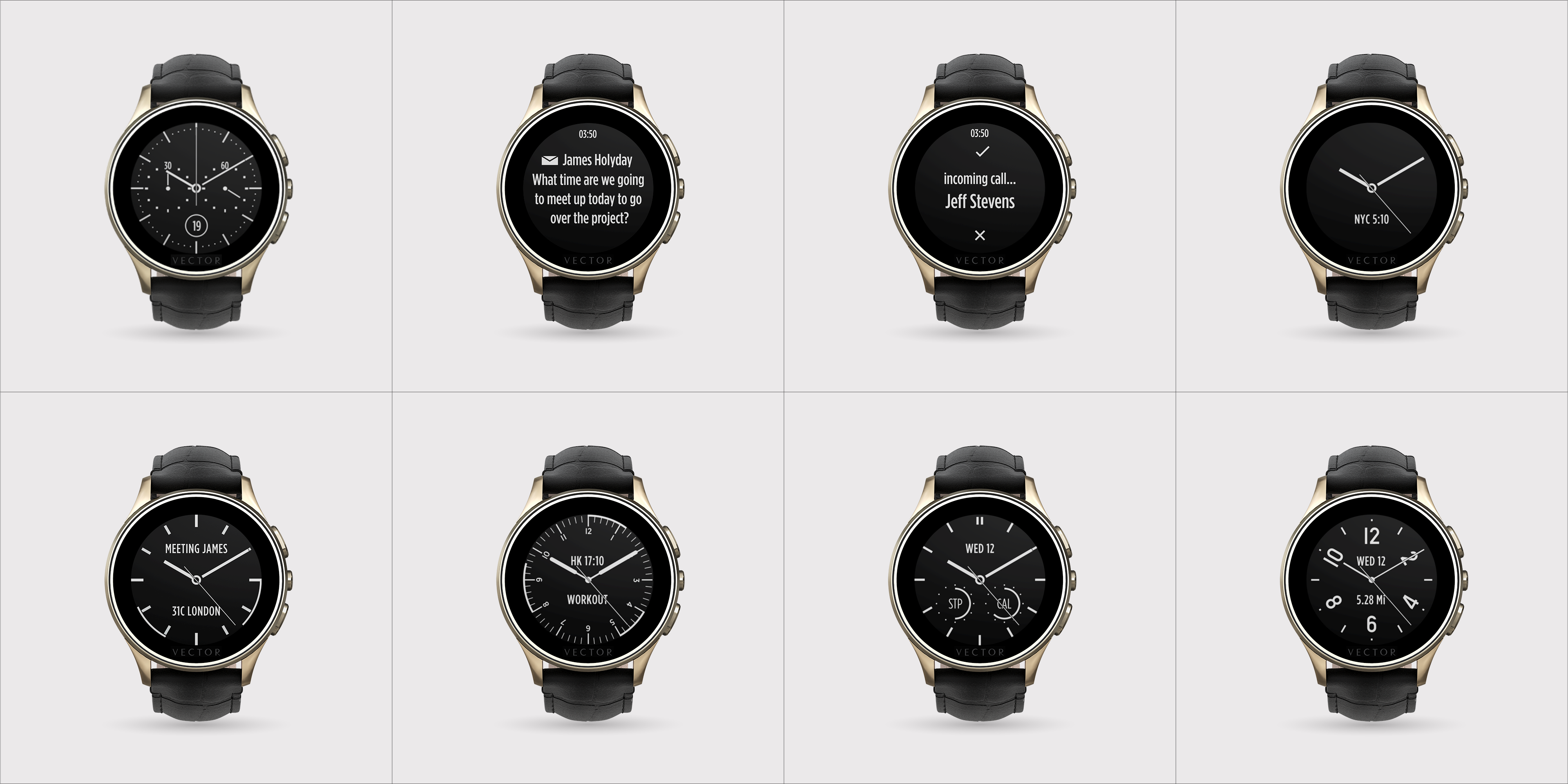 Descriere SmartWatch VECTOR Watch Luna, champagne gold, curea neagra din piele croco