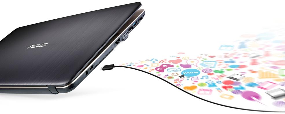 "Descriere Laptop  ASUS VivoBook Max X541NA-GO008, Celeron N3350, 15.6"", 4GB DDR4, 500GB HDD, EndlessOS,  Chocolate Black"