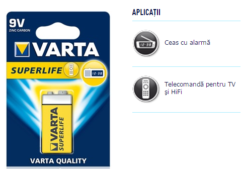 Descriere Baterie 9V, zinc-carbon, VARTA Super Life