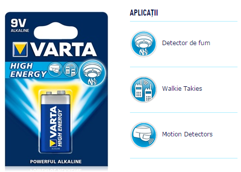 Descriere Baterie 9V, alcalina, VARTA High Energy