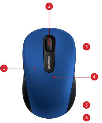 Descriere Mouse MICROSOFT Mobile 3600, Bluetooth, 1000 dpi, albastru