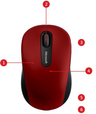 Descriere Mouse MICROSOFT Mobile 3600, Bluetooth, 1000 dpi, rosu