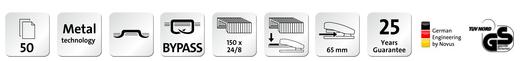 Descriere Capsator de birou cu capsare plata, pentru maxim 50 coli, capse 24/8, negru, NOVUS B 8 FC