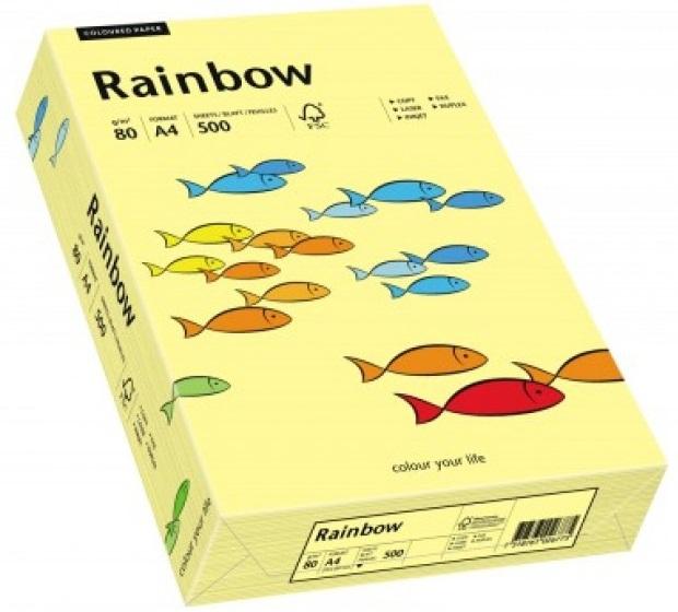 Descriere Hartie colorata, A4, 80 g/mp, 500 coli/top, galben deschis (light yellow), RAINBOW