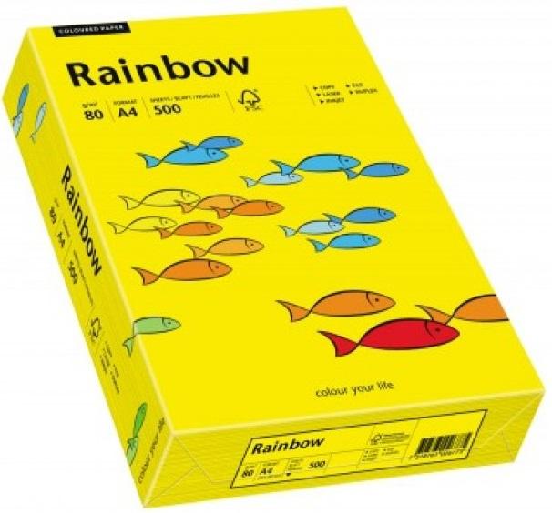 Descriere Hartie colorata, A4, 80 g/mp, 500 coli/top, galben intens (intensive yellow), RAINBOW