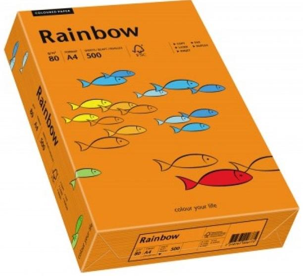 Descriere Hartie colorata, A4, 80 g/mp, 500 coli/top, portocaliu intens (intensive orange), RAINBOW