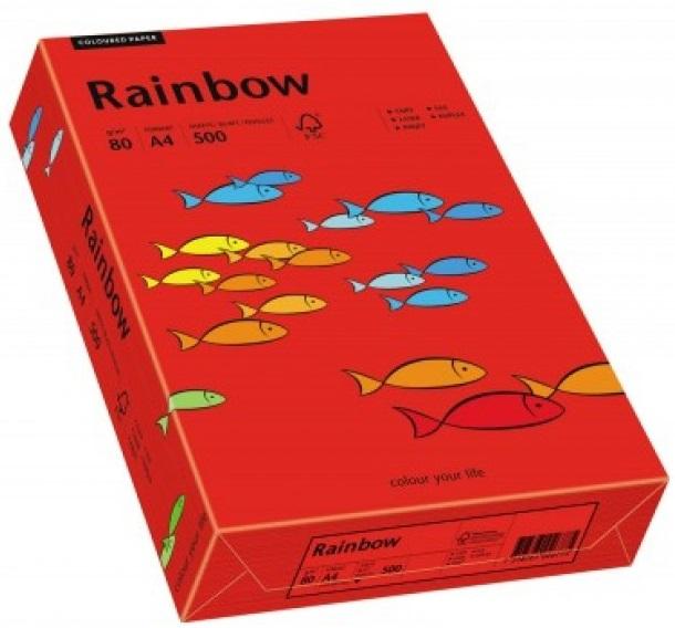 Descriere Hartie colorata, A4, 80 g/mp, 500 coli/top, rosu intens (intensive red), RAINBOW