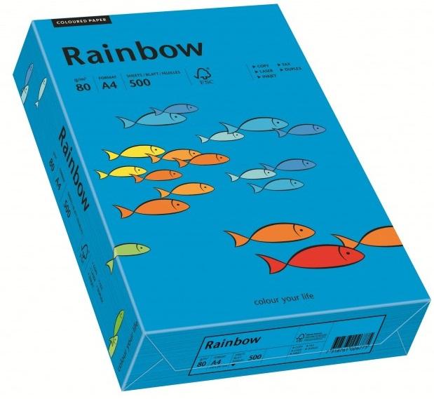 Descriere Hartie colorata, A4, 80 g/mp, 500 coli/top, albastru intens (intensive blue), RAINBOW