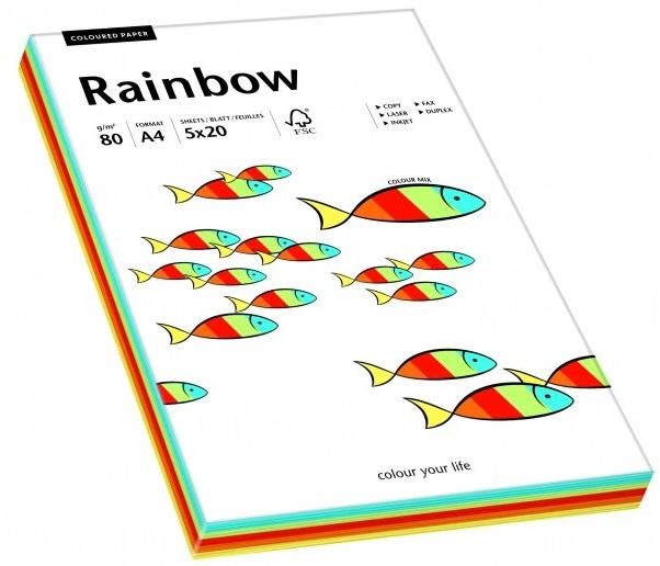 Descriere Hartie colorata, A4, 80 g/mp, 5 x 20 coli/top, mix culori intense, RAINBOW