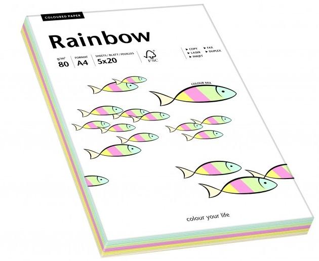 Descriere Hartie colorata, A4, 80 g/mp, 5 x 20 coli/top, mix culori deschise (pastel), RAINBOW