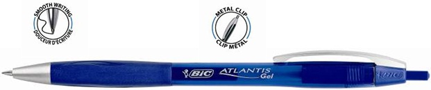 Descriere Roller cu gel, 0.7mm, albastru, BIC ATLANTIS GEL