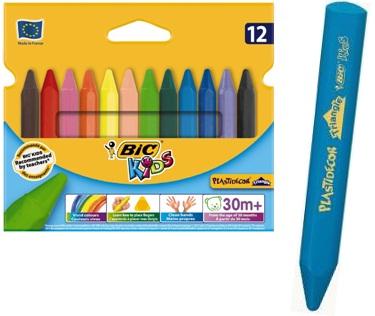 Descriere Creioane colorate - cerate, forma triunghiulara, 12 culori/set, BIC PLASTIDECOR