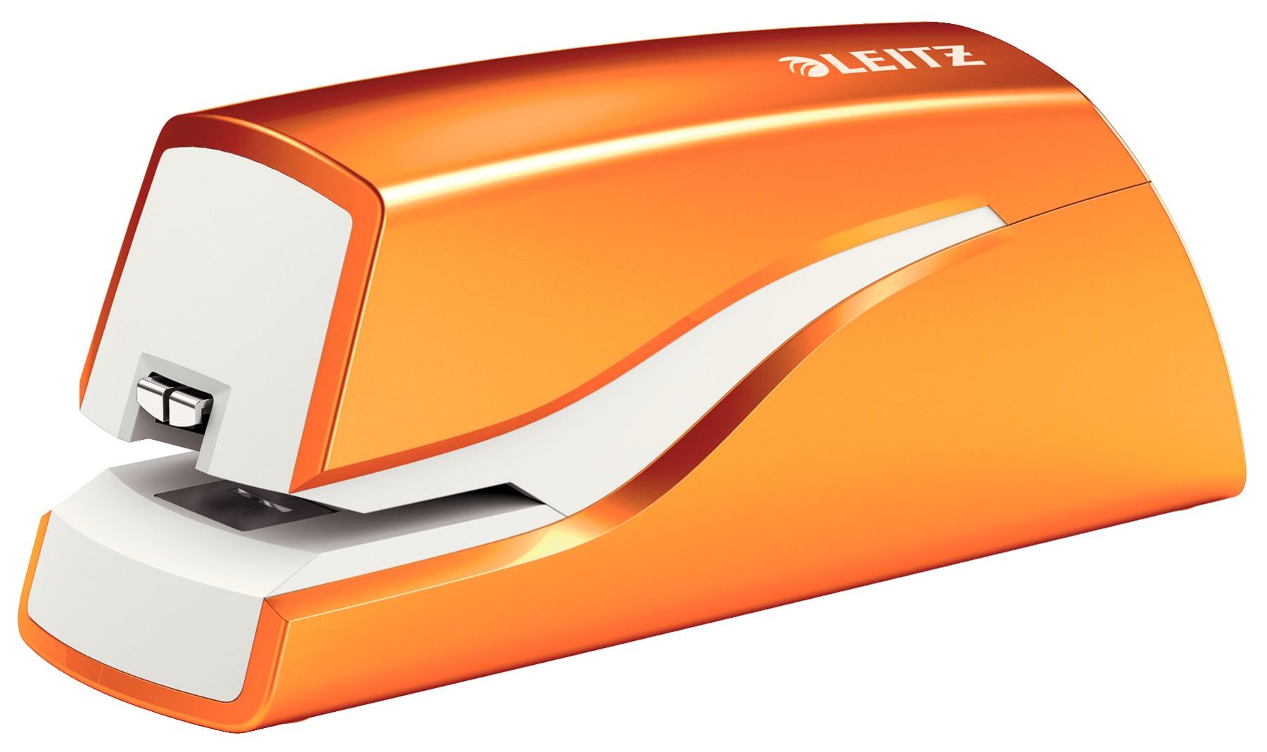 Descriere Capsator electric cu baterii, 10 coli, portocaliu metalizat, LEITZ WOW