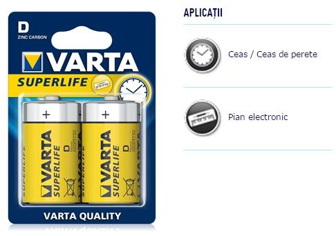 Descriere Baterii D, zinc-carbon, 2 bucati, VARTA Super Life