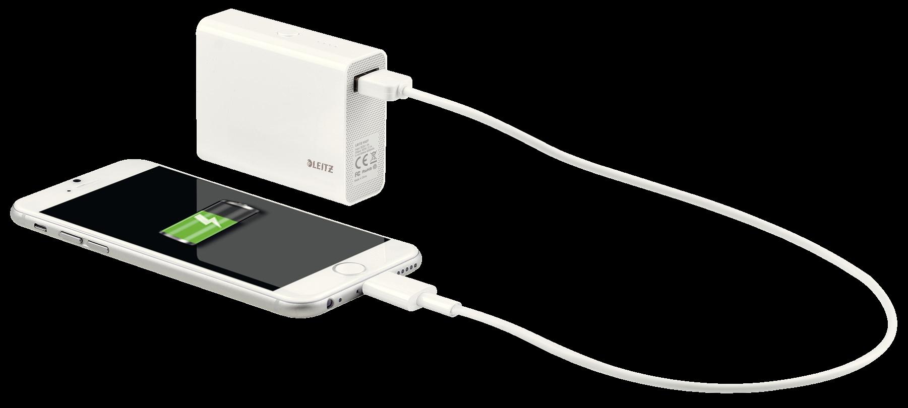 Descriere Baterie externa cu USB, 6.000 mAh, alb, LEITZ Complete