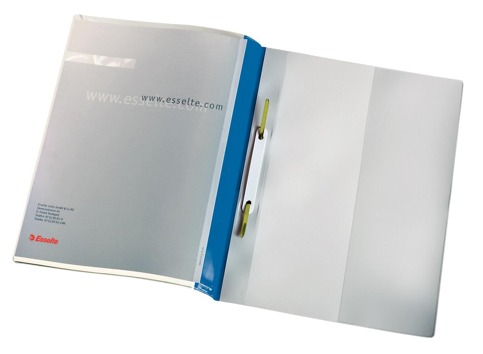 Descriere Dosar din plastic, cu sina, buzunar frontal, albastru, 25 buc/set, ESSELTE Panorama