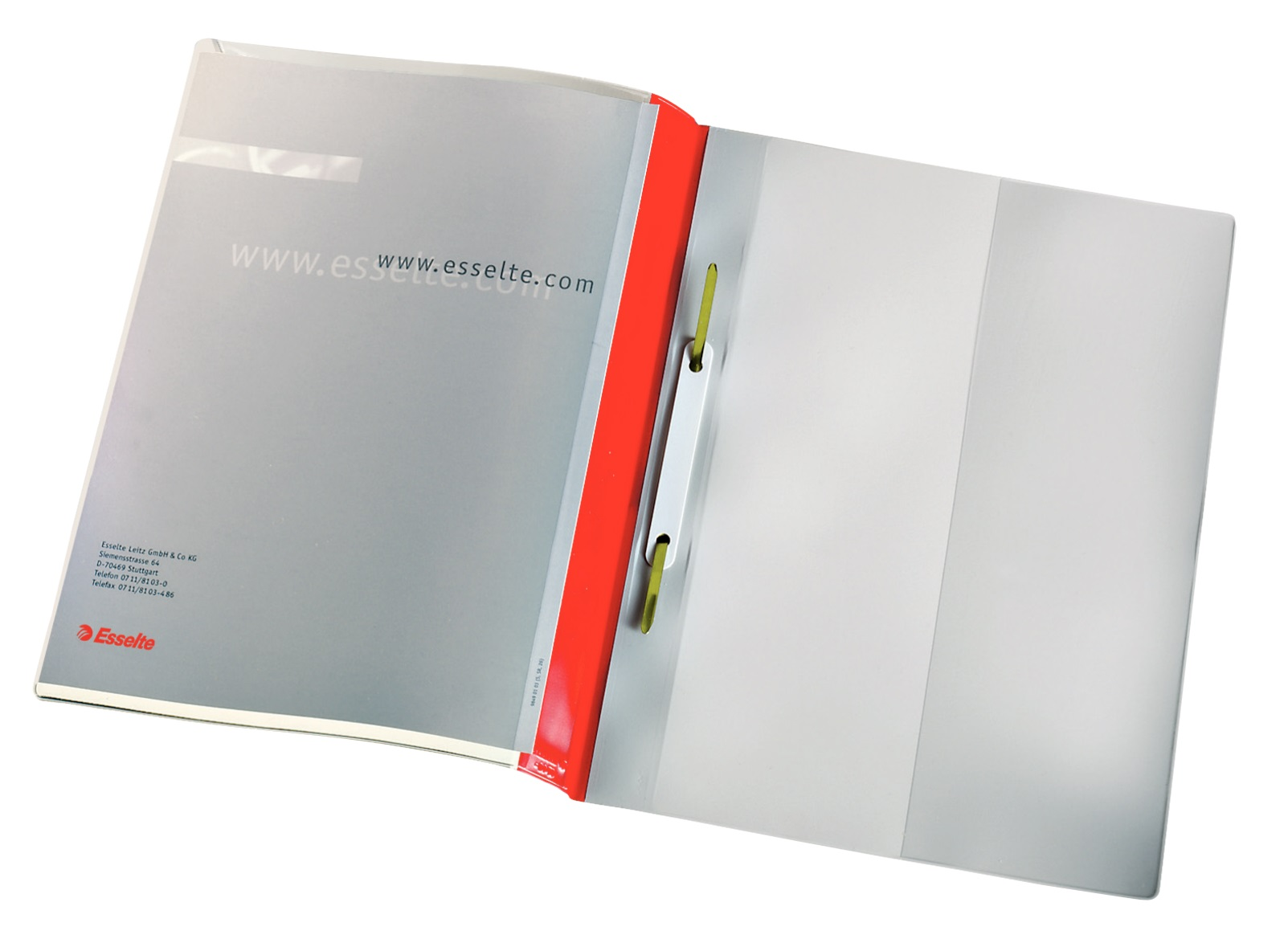 Descriere Dosar din plastic, cu sina, buzunar frontal, rosu, 25 buc/set, ESSELTE Panorama