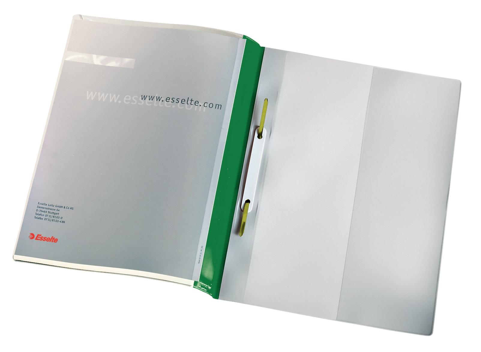 Descriere Dosar din plastic, cu sina, buzunar frontal, verde, 25 buc/set, ESSELTE Panorama