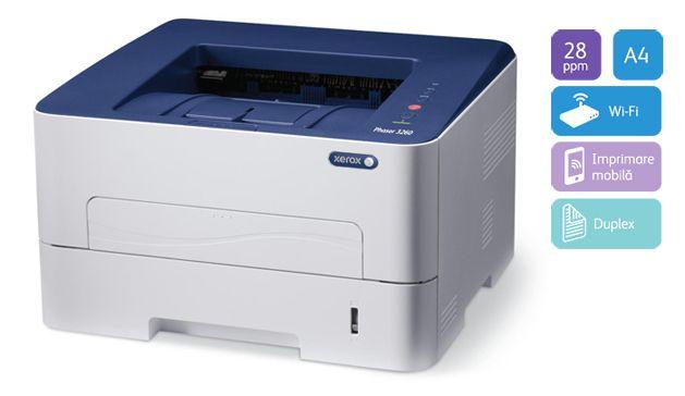 Descriere Imprimanta laser monocrom XEROX Phaser 3260DNI, A4, retea, Wi-Fi, duplex