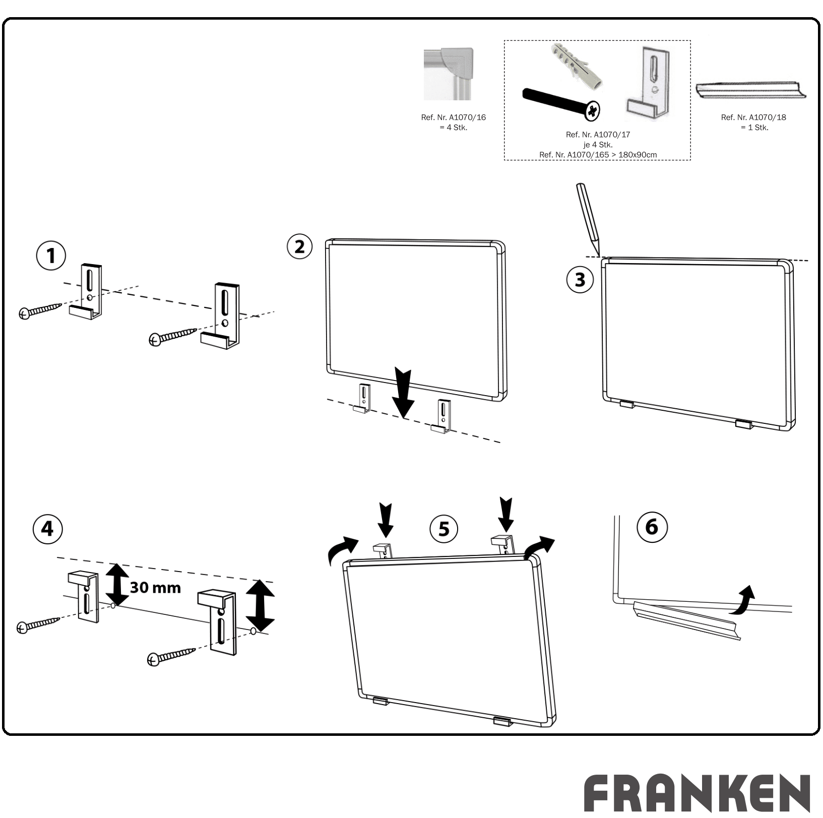 Descriere Tabla magnetica - whiteboard, 180 x 120cm, FRANKEN X-tra! Line