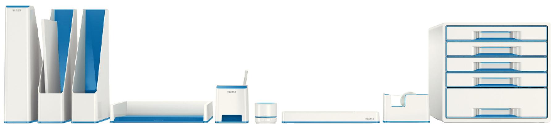 Descriere Tavita documente, culori duale, albastru metalizat, LEITZ WOW