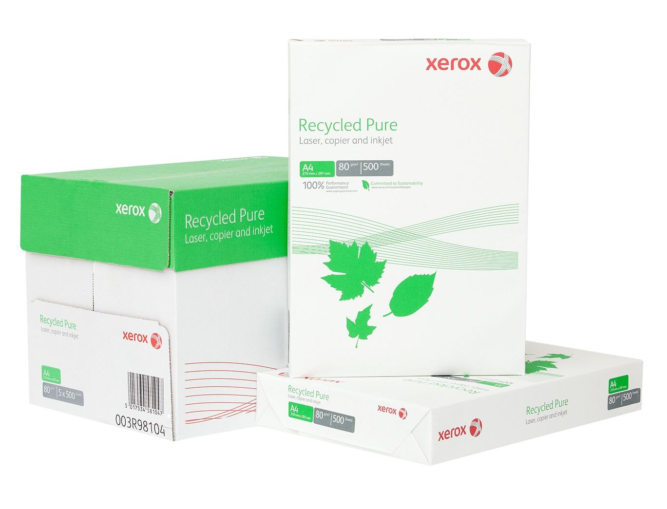 Descriere Hartie reciclata A4, 80 g/mp, 500 coli/top, XEROX Recycled Pure