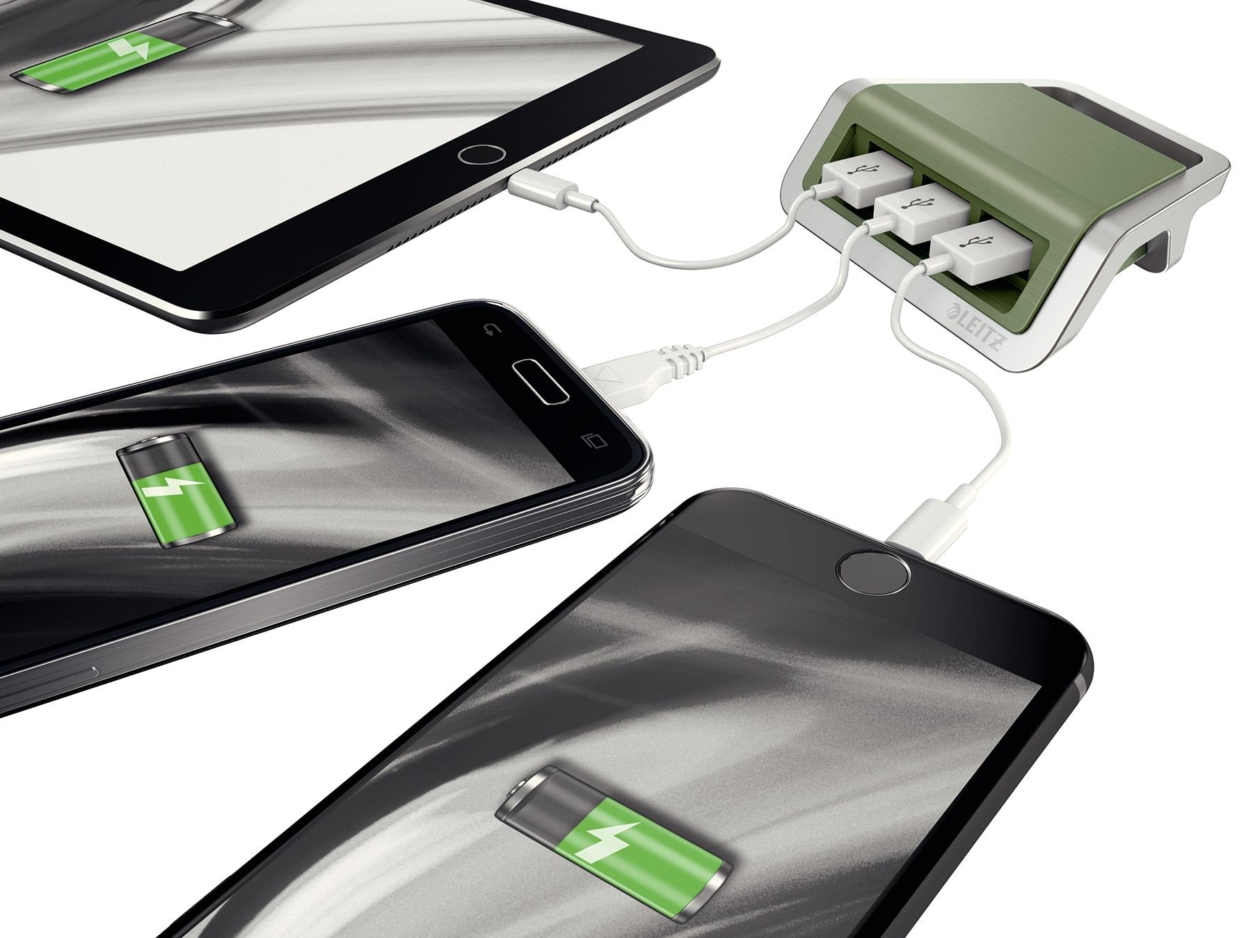 Descriere Incarcator cu trei porturi USB, Fistic, Leitz Style