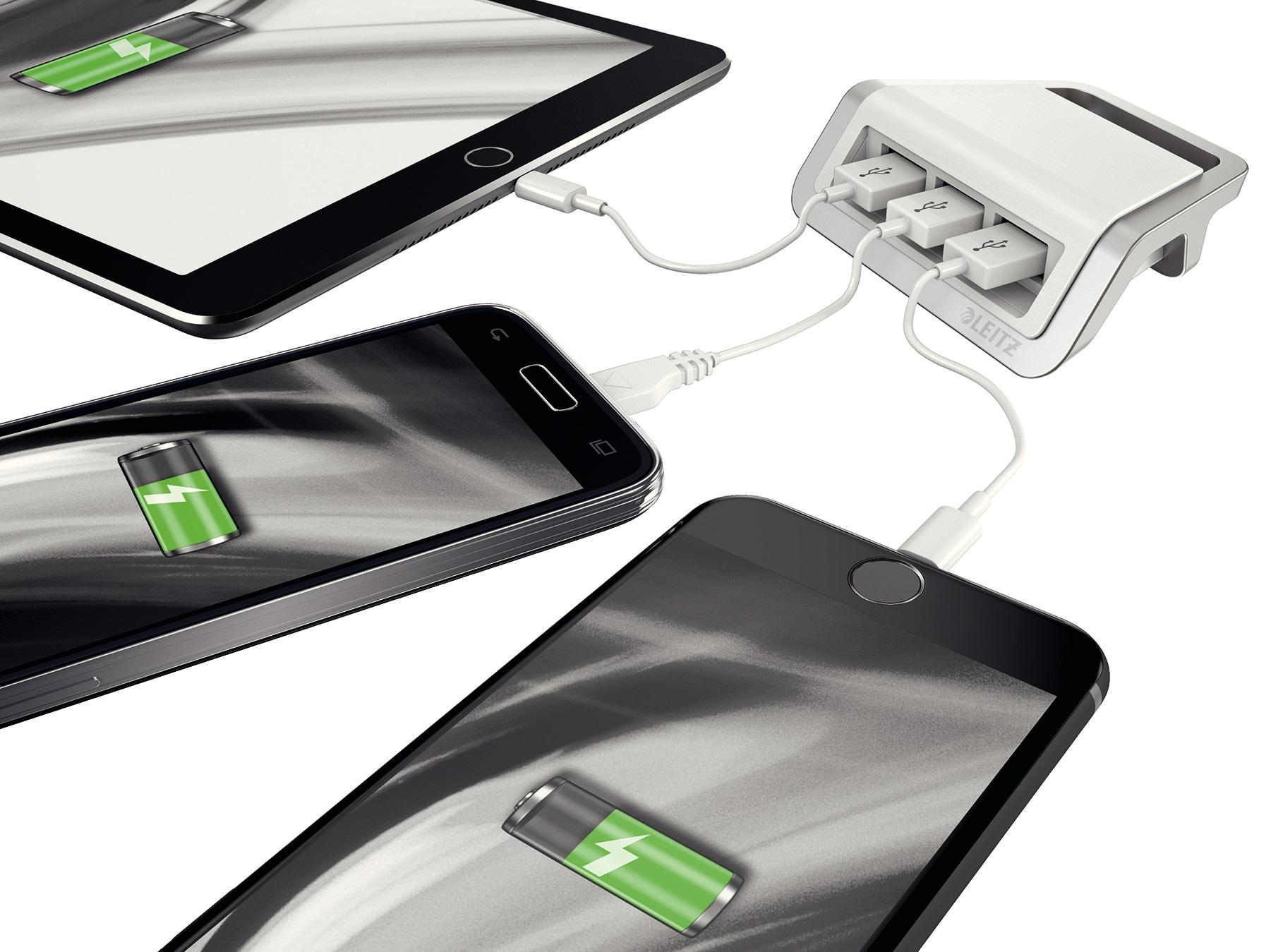Descriere Incarcator cu trei porturi USB, alb arctic, Leitz Style