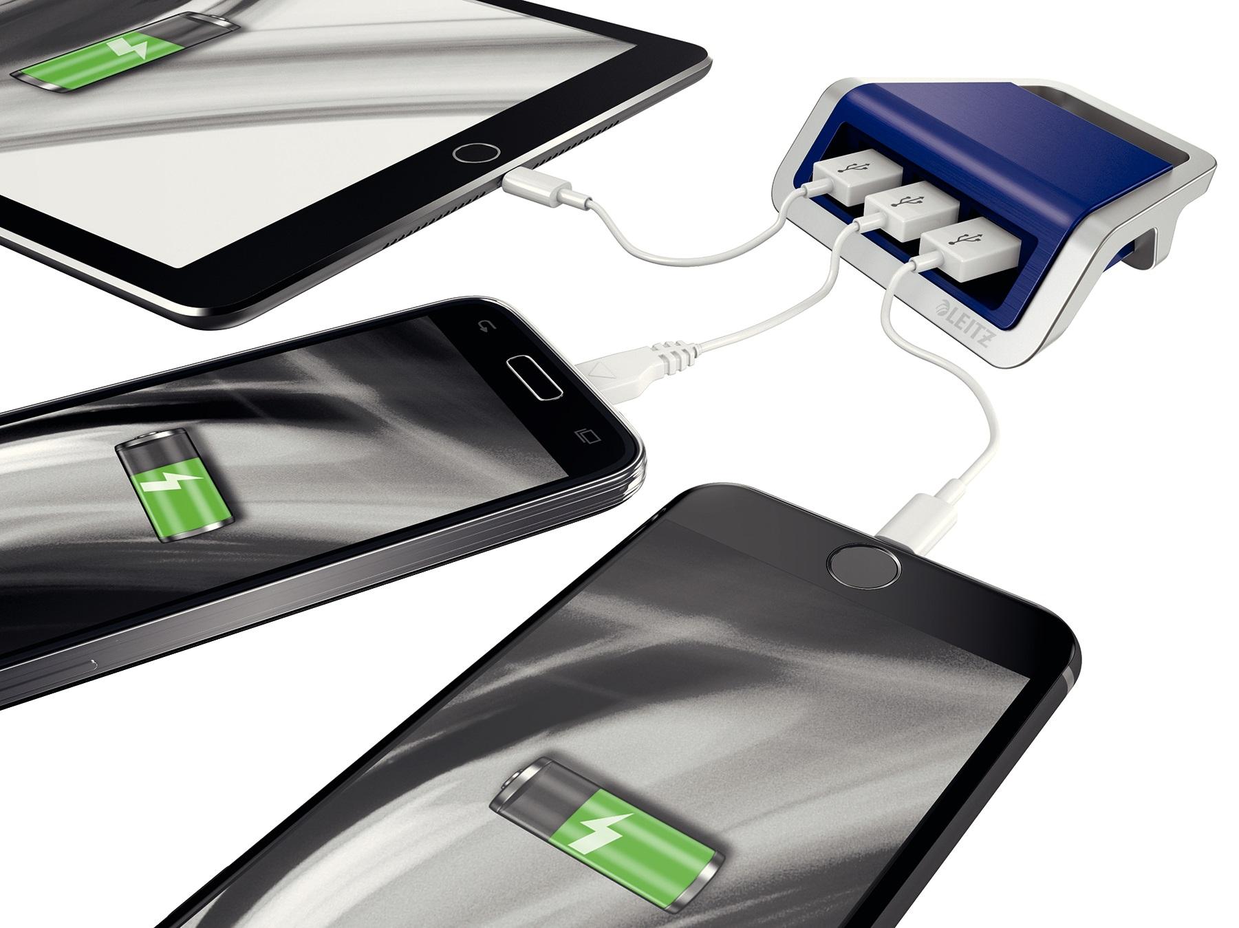Descriere Incarcator cu trei porturi USB, albastru violet, Leitz Style