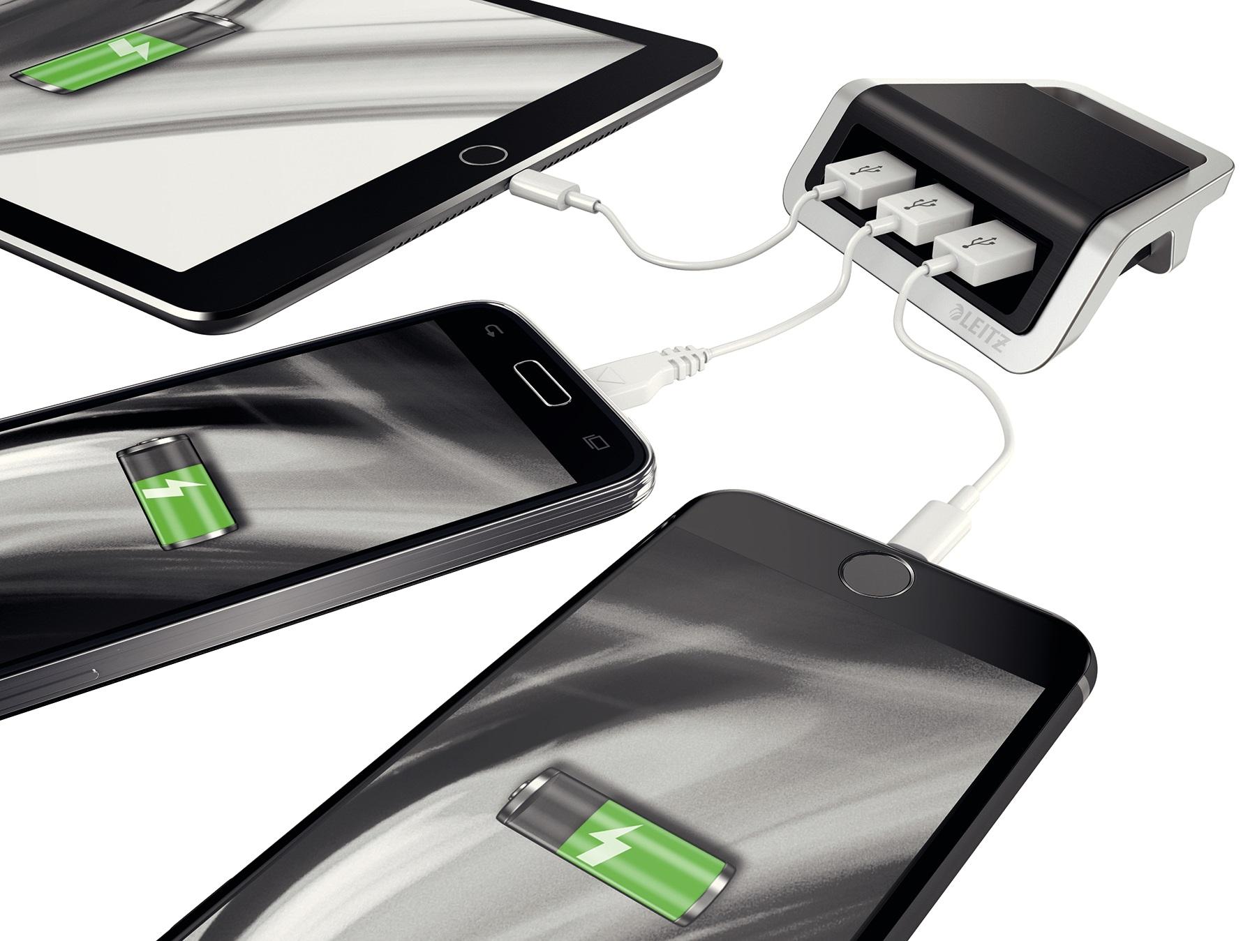 Descriere Incarcator cu trei porturi USB, negru satin, Leitz Style