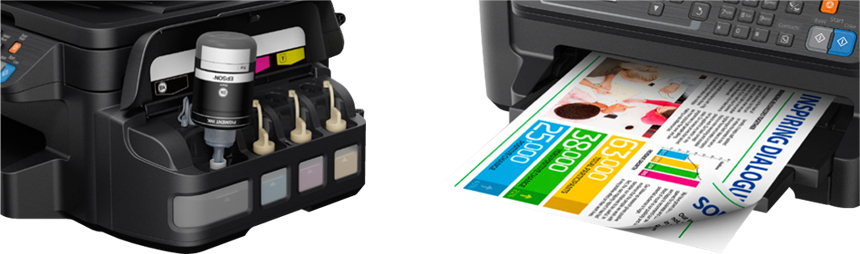 Descriere Multifunctional inkjet color EPSON L655 CISS, A4, USB, Wi-Fi, Retea