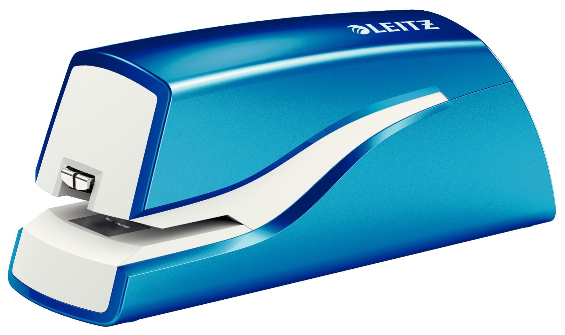 Descriere Capsator electric cu baterii, 10 coli, albastru metalizat, LEITZ WOW