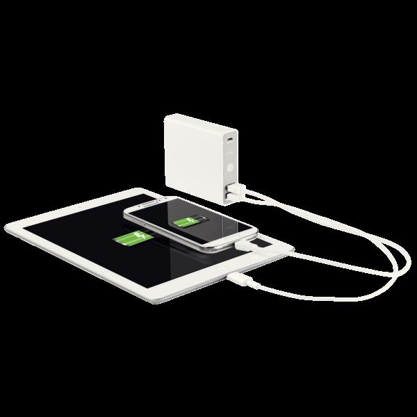 Descriere Baterie externa, cu USB, 12.000 mAh, alb, LEITZ Complete
