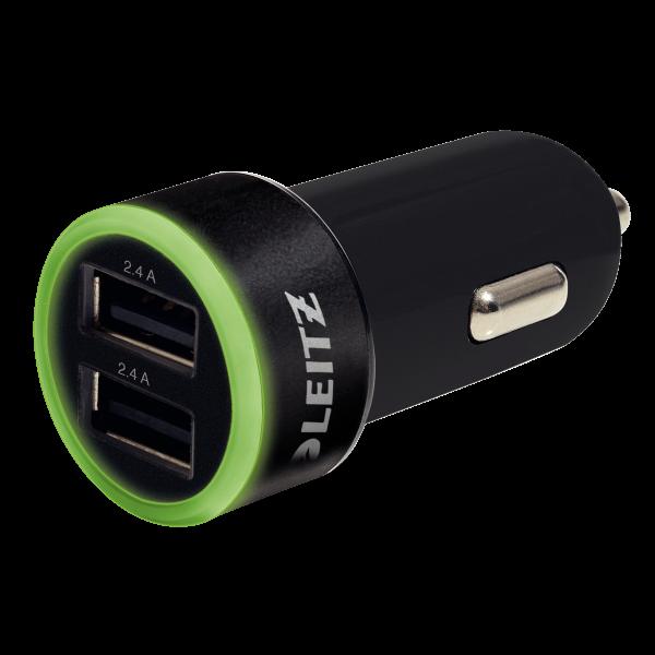 Descriere Duo-incarcator USB pentru masina, negru, LEITZ Complete Traveller