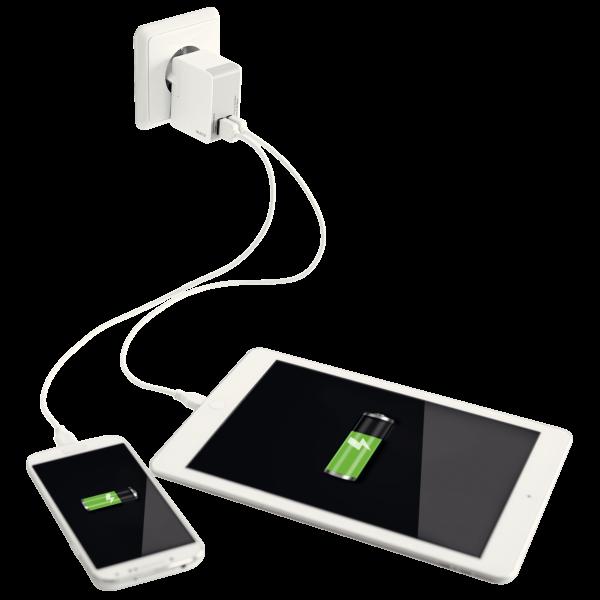 Descriere Duo-incarcator universal USB pentru perete, 12W, alb, LEITZ Complete
