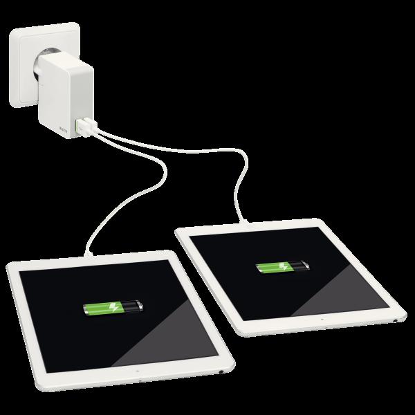 Descriere Duo-incarcator universal USB pentru perete, 24 W, alb, LEITZ Complete