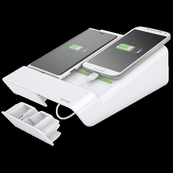 Descriere Duo-incarator de birou pentru 2 smartphone-uri sau o tableta PC, alb, LEITZ Complete