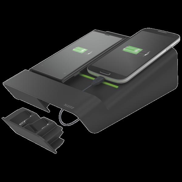 Descriere Duo-incarator de birou pentru 2 smartphone-uri sau o tableta PC, negru, LEITZ Complete