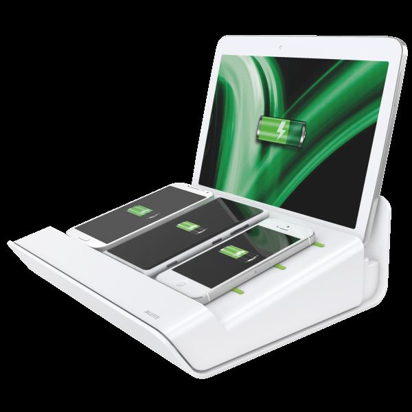 Descriere Incarcator multifunctional, pentru echipamente mobile, alb, LEITZ Complete XL