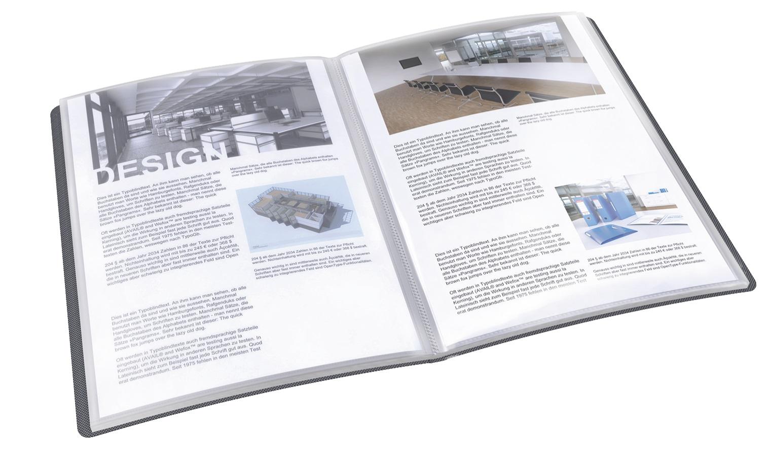 Descriere Mapa de prezentare, coperta tare, 40 de folii din plastic, negru, ESSELTE Vivida