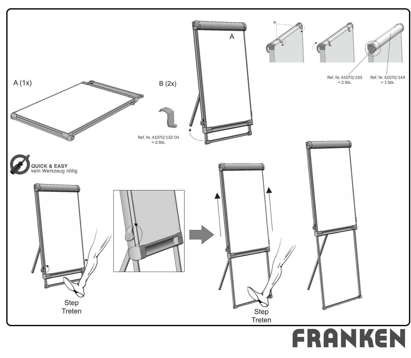 Descriere Flipchart magnetic, 67 x 95cm, FRANKEN PROSerie Standard