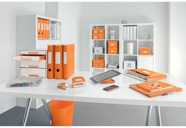 Descriere Perforator metalic de birou, pentru maxim 10 coli, portocaliu metalizat, LEITZ MINI 5060 NeXXt Series