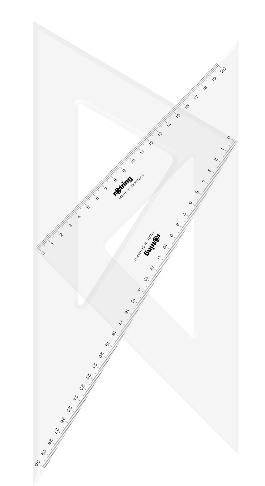Descriere Echer, 45° si  30°/60°, 30cm, 2 buc/set, ROTRING Centro