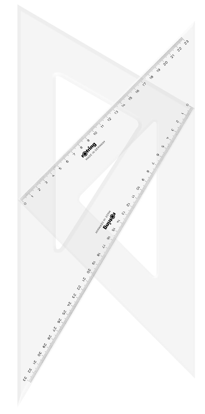 Descriere Echer, 45° si  30°/60°, 35cm, 2 buc/set, ROTRING Centro