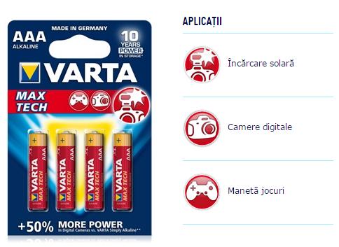 Descriere Baterii AAA, alcaline, 4 bucati, VARTA Max Tech