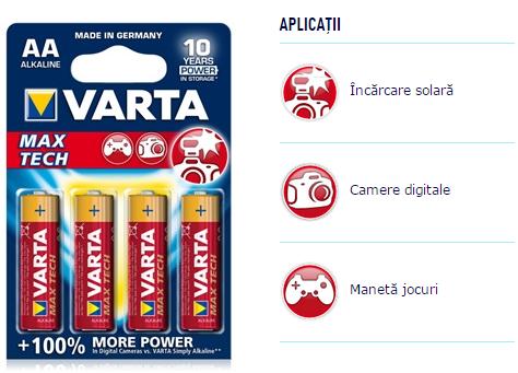 Descriere Baterii AA, alcaline, 4 bucati, VARTA Max Tech