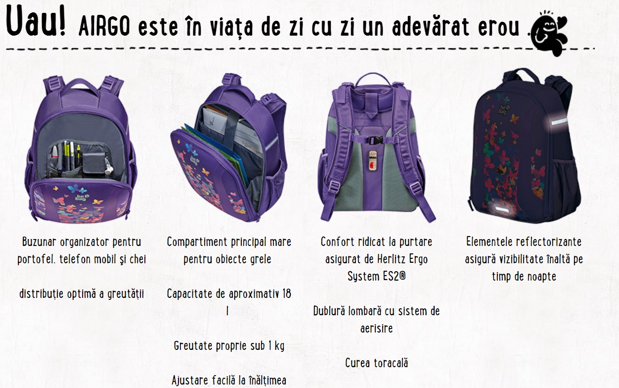 Descriere Rucsac ergonomic, HERLITZ Be.Bag Airgo Pink Butterflies