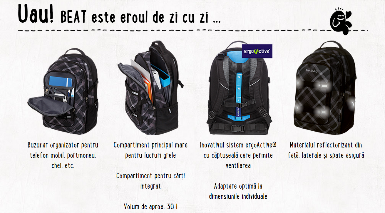 Descriere Rucsac ergonomic, HERLITZ Be.Bag Beat Kaleidoscope
